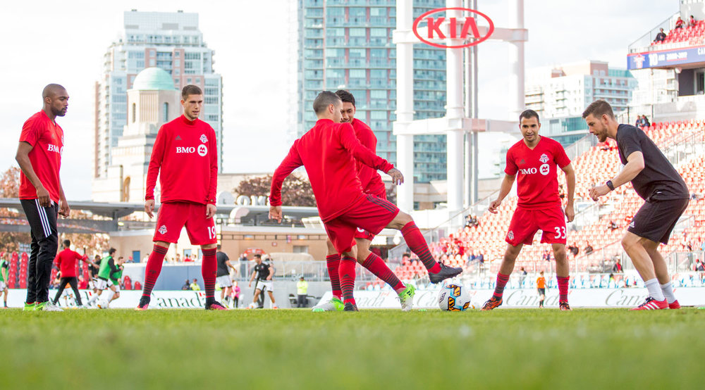 Toronto FC warms up before a Canadian Championship match in 2017 against the Ottawa Fury. Image by Dennis Marciniak of denMAR Media.