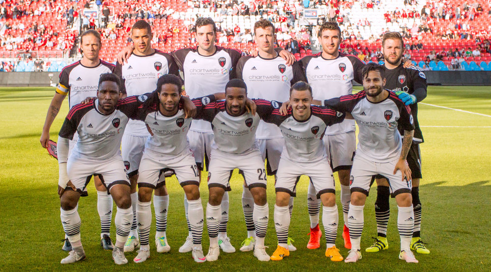 Ottawa Fury Starting XI at BMO Field in 2017. Pictured in no particular order: Tucker Hume, Callum Irving, Eddie Edward, Shane McEleney, Ramón Del Campo, Andrae Campbell, Jamar Dixon, Onua Obasi, Lance Rozeboom, Ryan Williams, Sito Seoane. Image by Dennis Marciniak of denMAR Media.