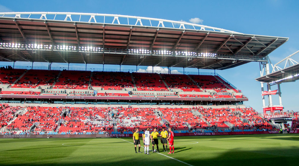 The coin flip at BMO Field during a Canadian Championship game where Ottawa Fury visted Toronto FC in May 2017. Image by Dennis Marciniak of denMAR Media.