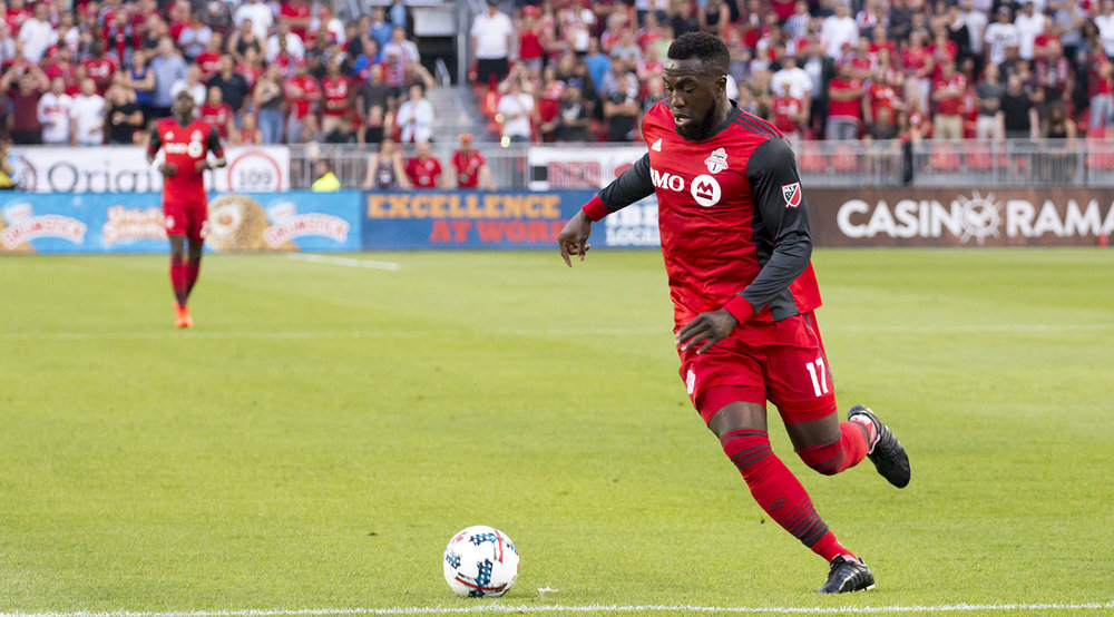 Jozy Altidore on the ball during a Major League Soccer match in 2017.