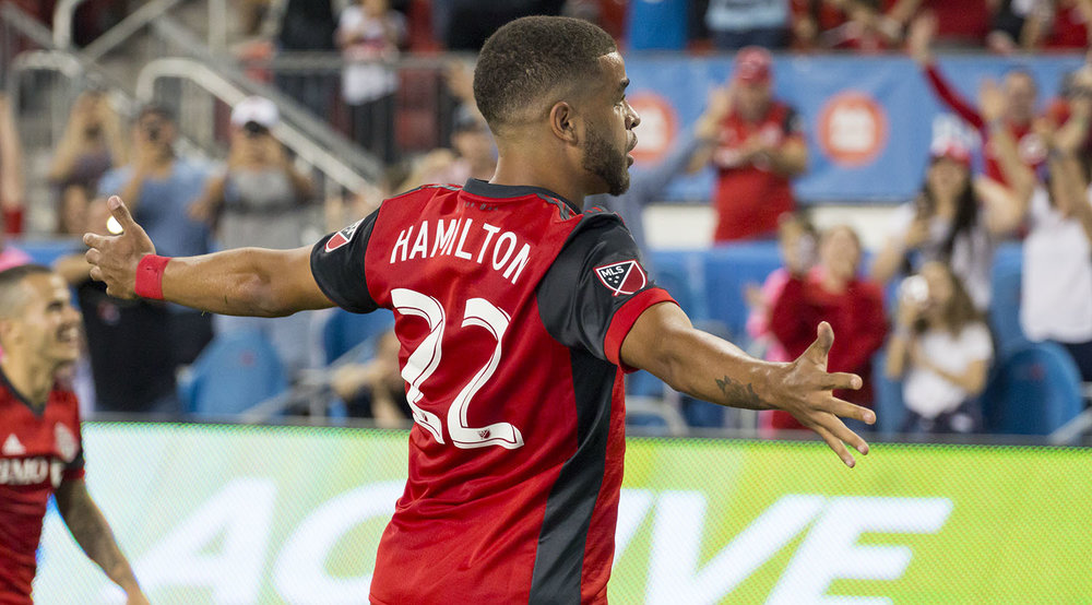 Jordan Hamilton celebrates the goal he just scored to take Toronto FC to 2 goals on the night. Image by Dennis Marciniak of denMAR Media.