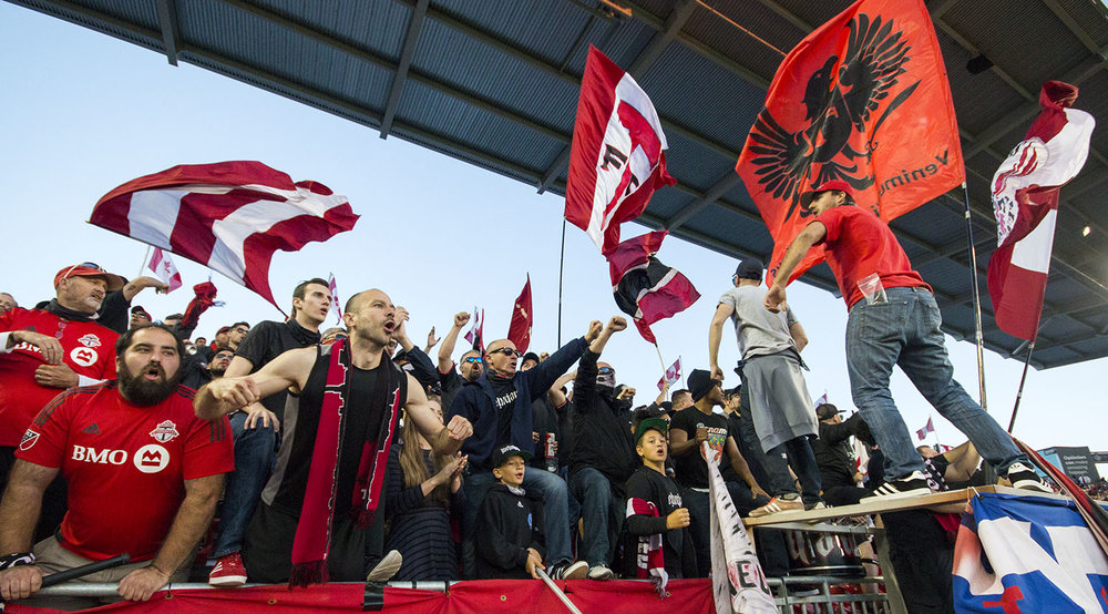 Supporter's from the south end making the atmosphere at BMO absolutely lit in 2017 during the Canadian Championship finale. Image by Dennis Marciniak of denMAR Media.