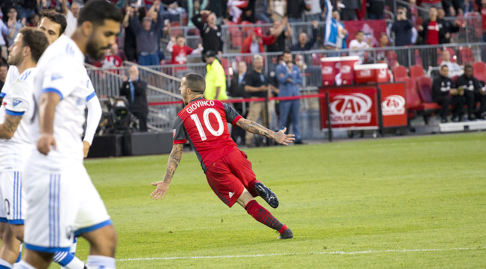 Giovinco celebrates his goal against the Montreal Impact in 2017. Image by Dennis Marciniak of denMAR Media.