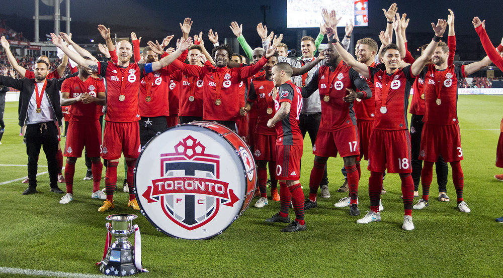 Toronto FC joins the south end supporter's section with the Voyageurs Cup in a thunderclap in 2017. Image by Dennis Marciniak of denMAR Media.