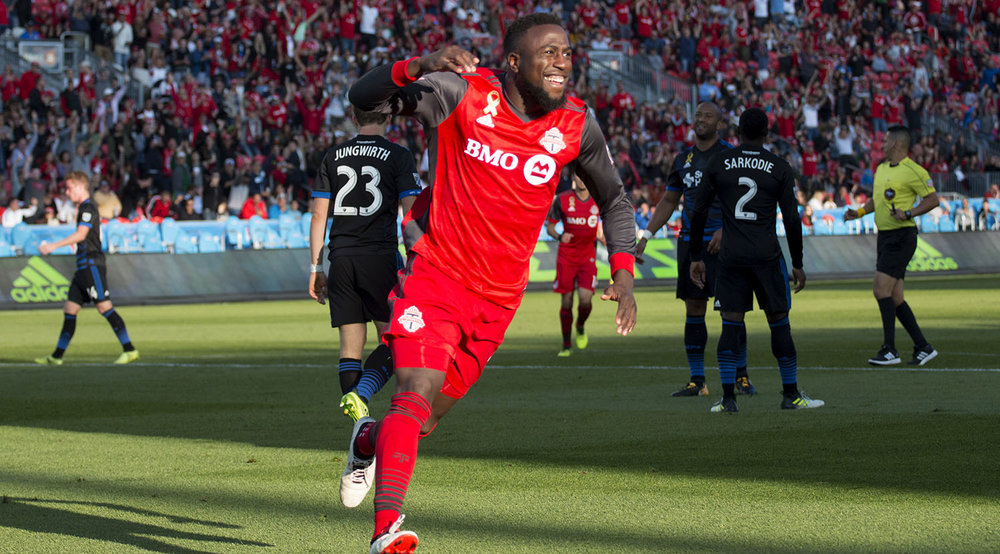 Jozy Altidore celebrates a goal during the second half against the San Jose Earthquakes in September of 2017. Image by Dennis Marciniak of denMAR Media.