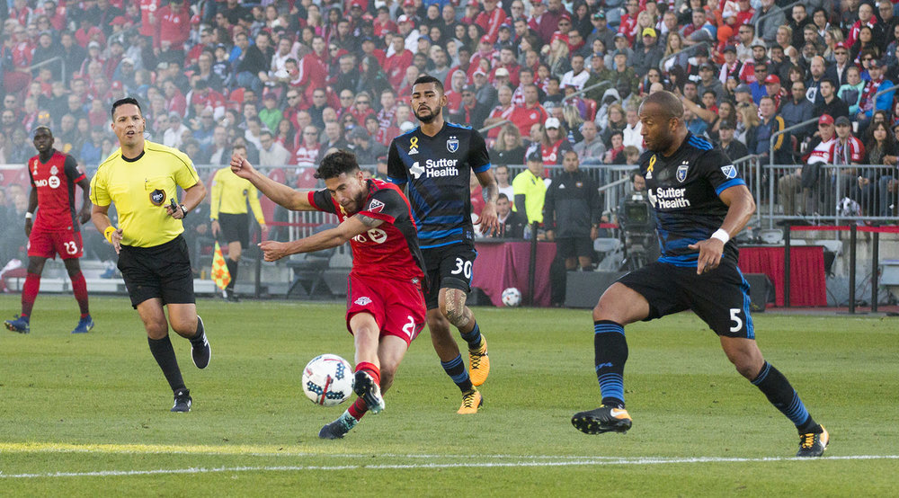 Jonathan Osorio blasts a shot towards the San Jose Earthquakes net which results in a goal. Image by Dennis Marciniak of denMAR Media.