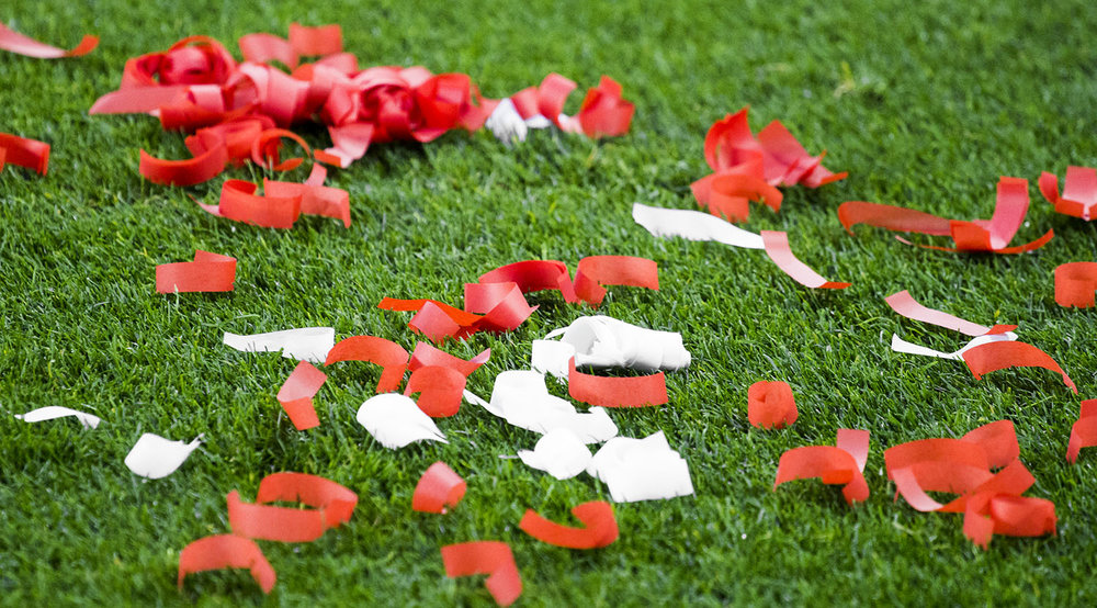 Confetti on the ground as Toronto FC advances to the 2017 East Conference Finals in Major League Soccer. Image by Dennis Marciniak of denMAR Media.
