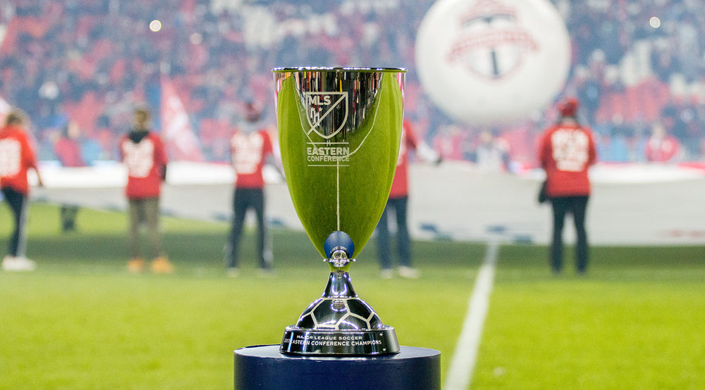 The Major League Soccer Eastern Conference Trophy was up for grabs at BMO Field between Toronto FC and the Columbus Crew in 2017.  Image by Dennis Marciniak of denMAR Media.