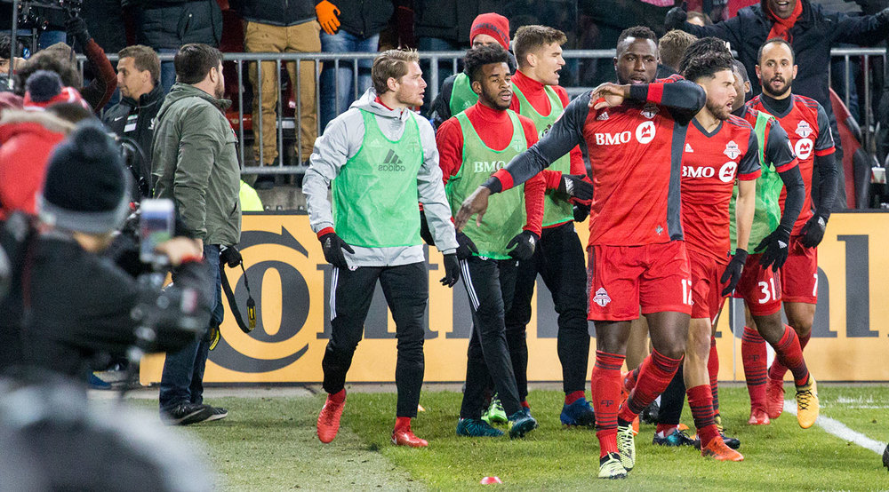 Jozy Altidore celebrating the series winning goal that would take Toronto FC into the 2017 Major League Soccer final.  Image by Dennis Marciniak of denMAR Media.