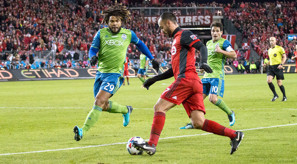 Victor Vazquez looking to get the ball into the 18 yard box during the 2017 MLS Cup Final. Image by Dennis Marciniak of denMAR Media.