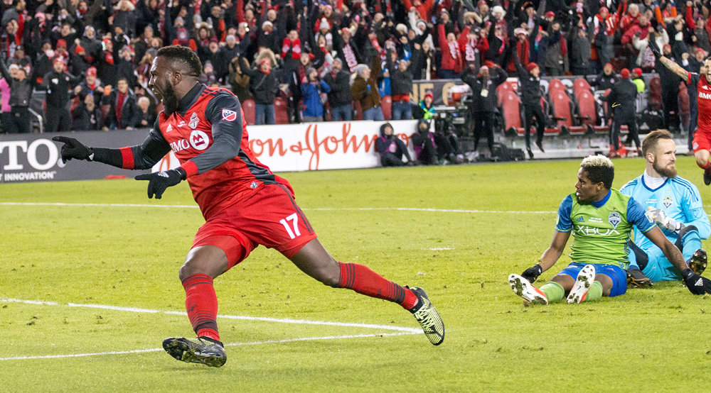 Jozy Altidore celebrating moments after the ball rolls across the goal line during the MLS Cup Final in 2017. Image by Dennis Marciniak of denMAR Media.