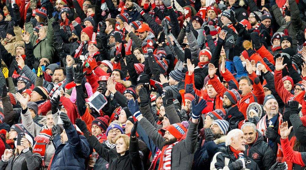 Fans in the east stands doing the thunder clap during the 2017 MLS Cup final. Image by Dennis Marciniak of denMAR Media.