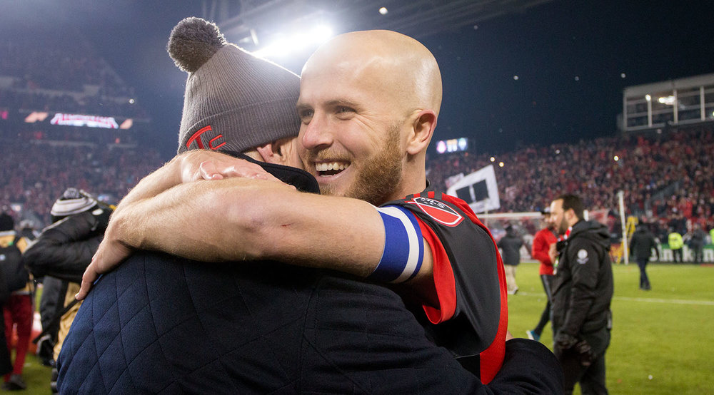 Michael Bradley elated over the 2017 MLS Cup win. It's been four years in the making for Michael. Image by Dennis Marciniak of denMAR Media.