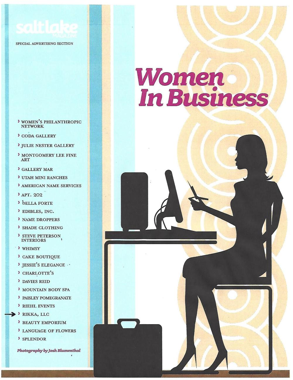 Women in Business (Salt Lake Magazine Oct. 2008) - Article on Rikka, LLC_Page_1.jpg