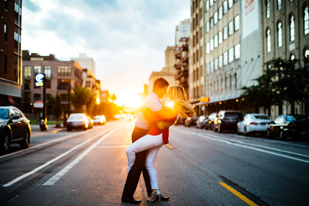 Downtown Minneapolis Golden hour engagement session