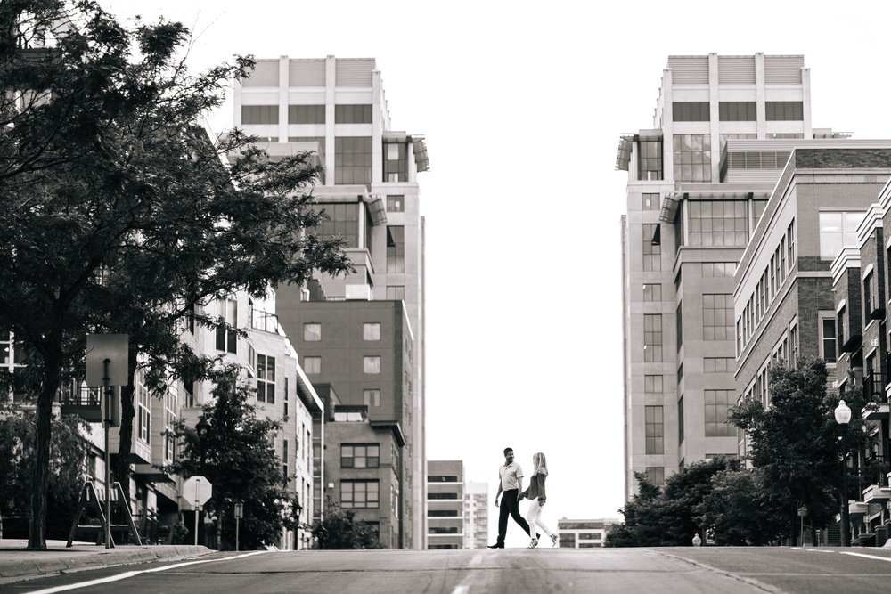 City Minneapolis Downtown Black and White Engagement Shoot
