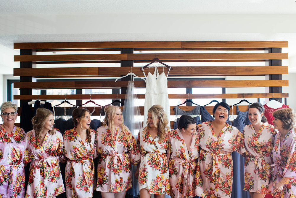 Minneapolis Wedding Photography Brides in floral robes from BHLDN