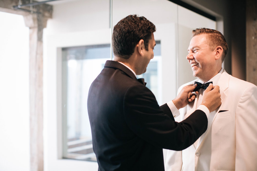 Hewing Hotel Wedding Photography Groom getting ready