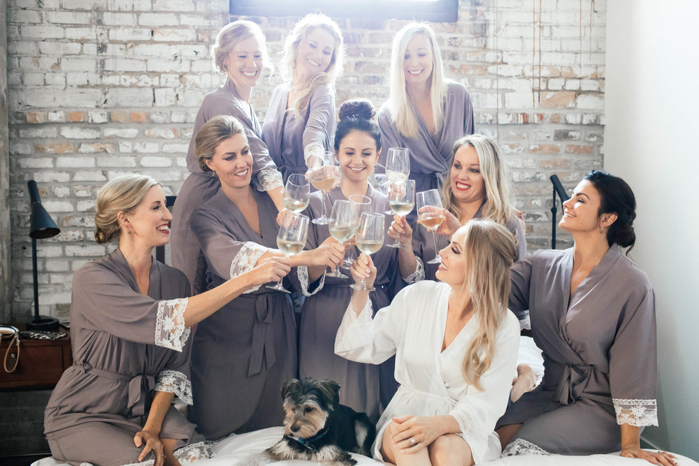 Hewing Hotel Wedding Photography Bridal party Getting Ready in pale purple robes