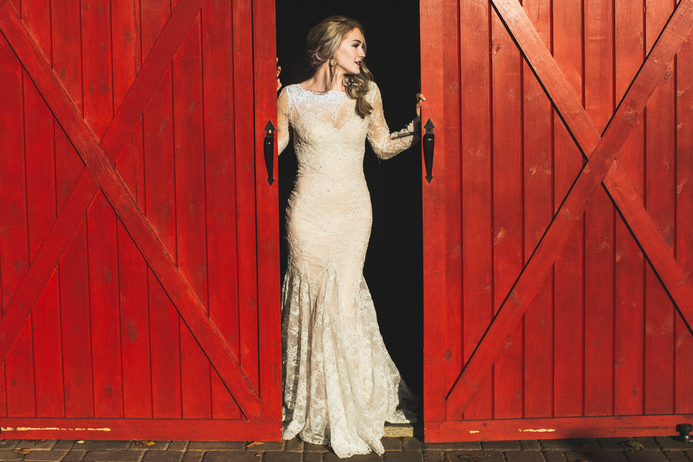 Minnetonka Orchard Wedding Photography Autumn Bride with red barn door