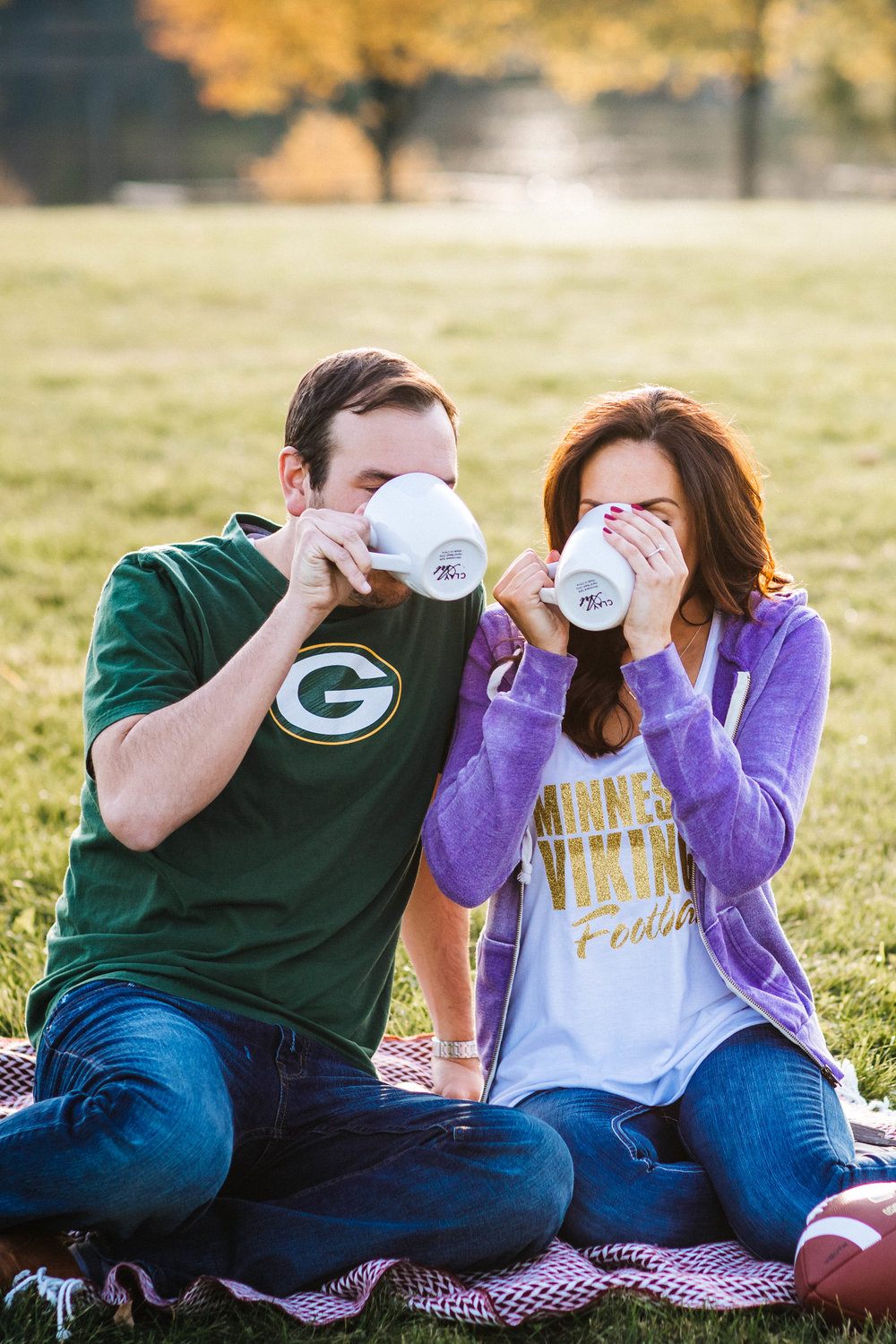 Minneapolis Engagement Photographer Vikings and Packer themed shoot