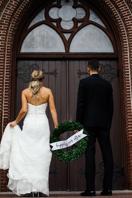 Just Married Wreath Etsy Photographer Minnesota Wedding