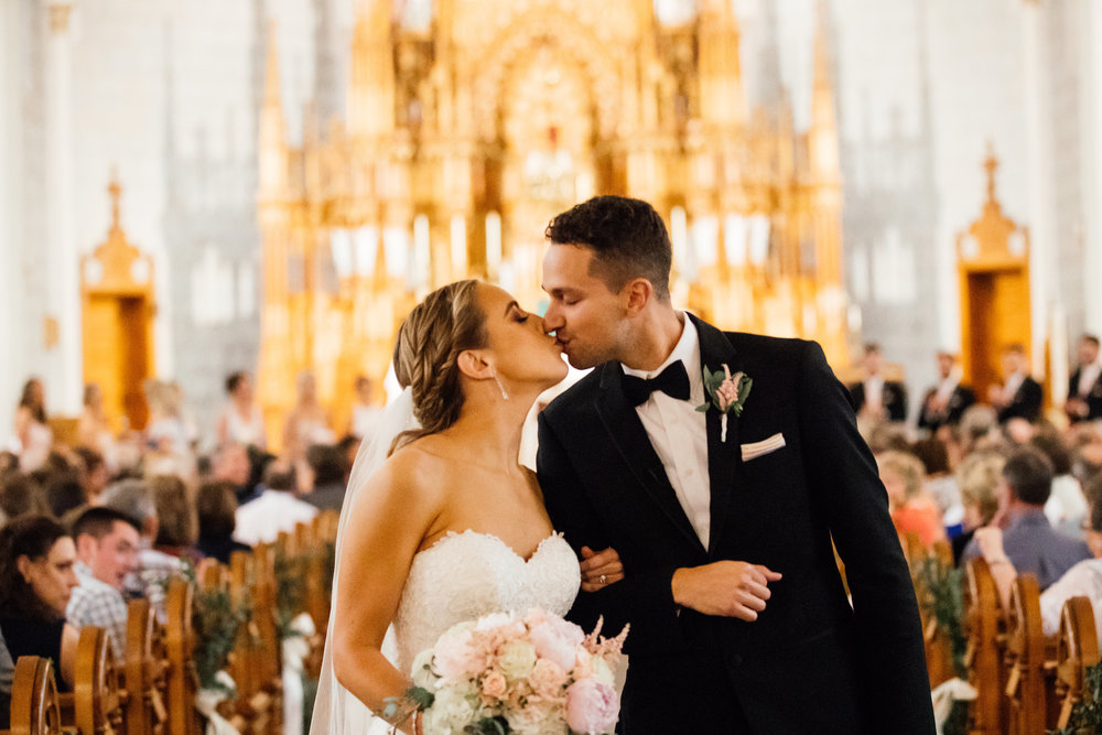 Bride and Groom First Kiss Elegant Twin Cities Photographer