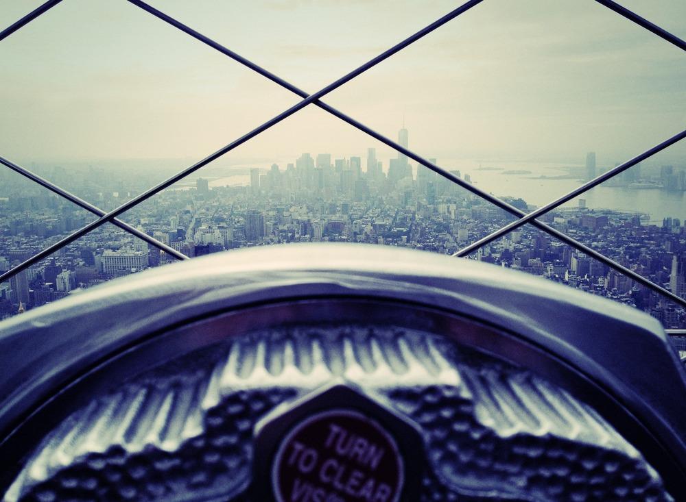 Skyview of New York City skyline.
