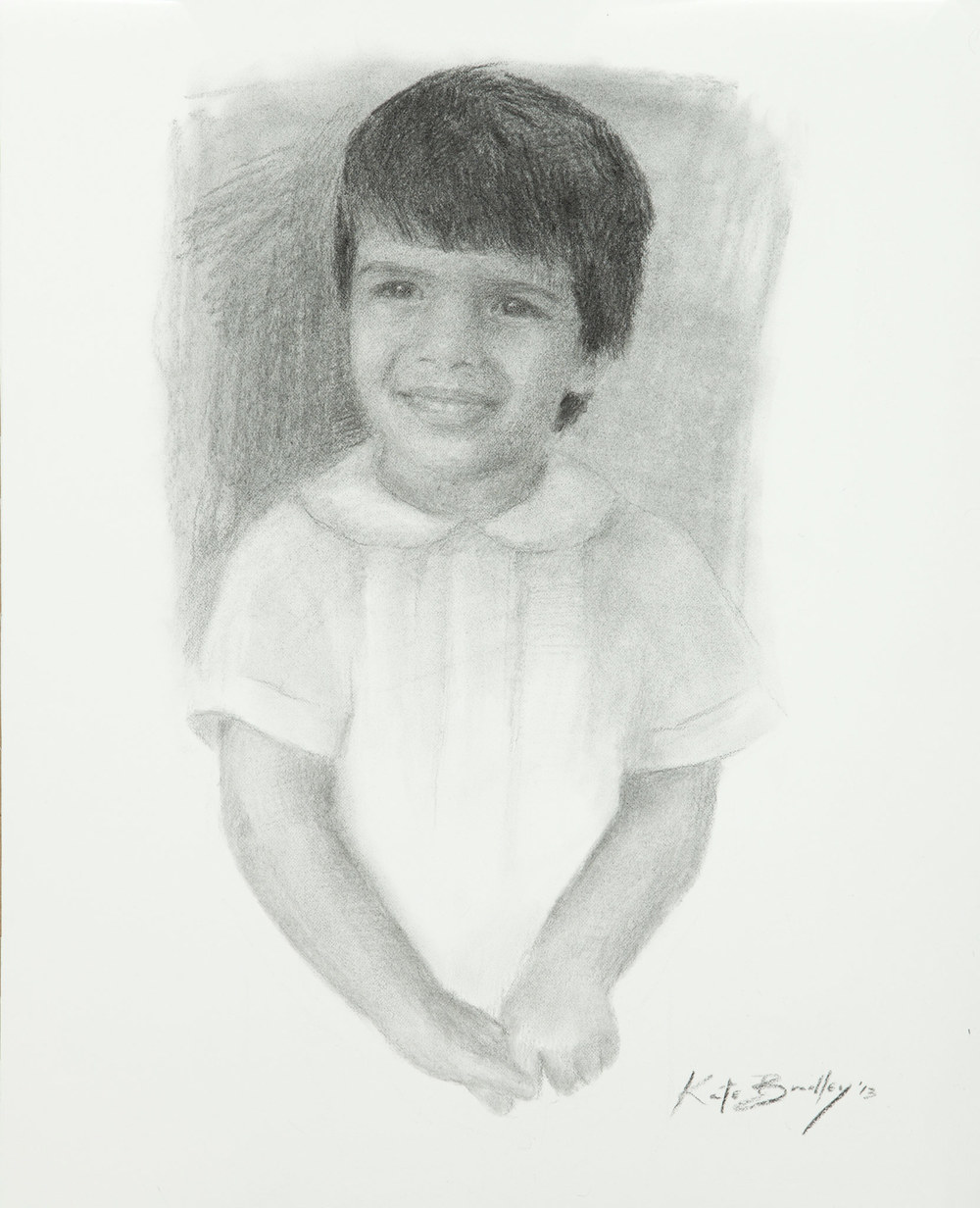 Charcoal portrait of child