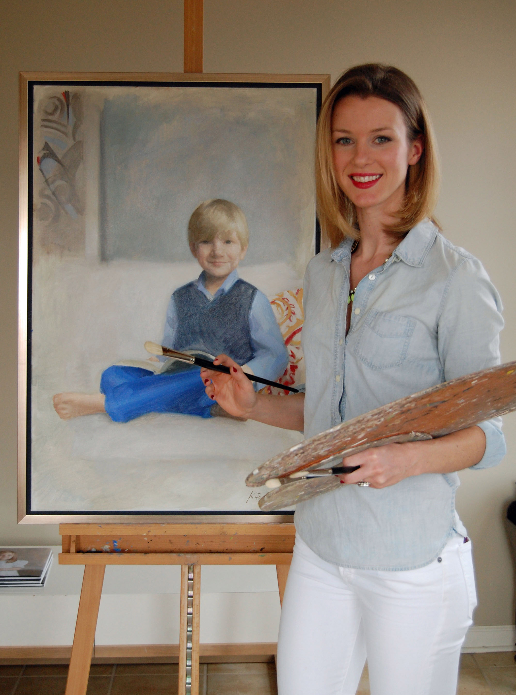 children's portrait artist kate bradley in her studio