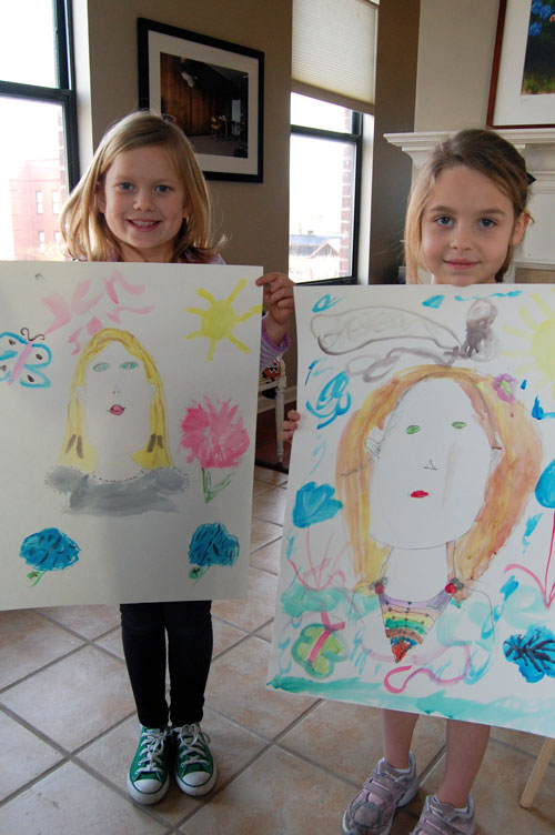From left to right: Jennings and Louise with their self-portraits