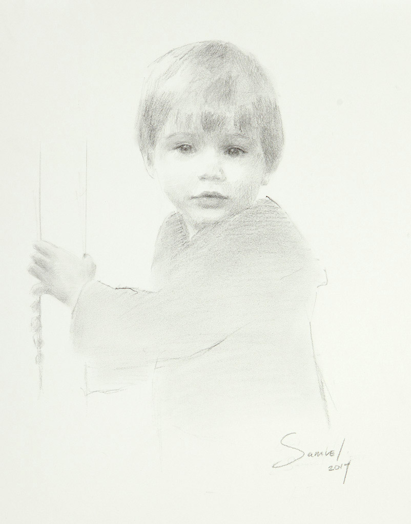 "Samuel Peterman, Age 2, Charcoal on Paper, 16"" x 20"""