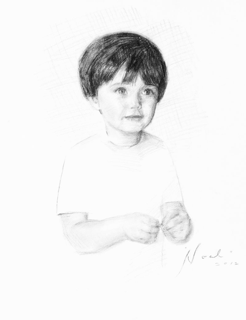 "Noah Peterman, Age 2, Charcoal on Paper, 16"" x 20"""
