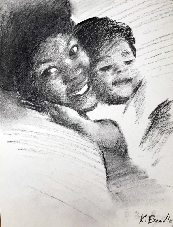 Blossom and Kimori, charcoal on paper