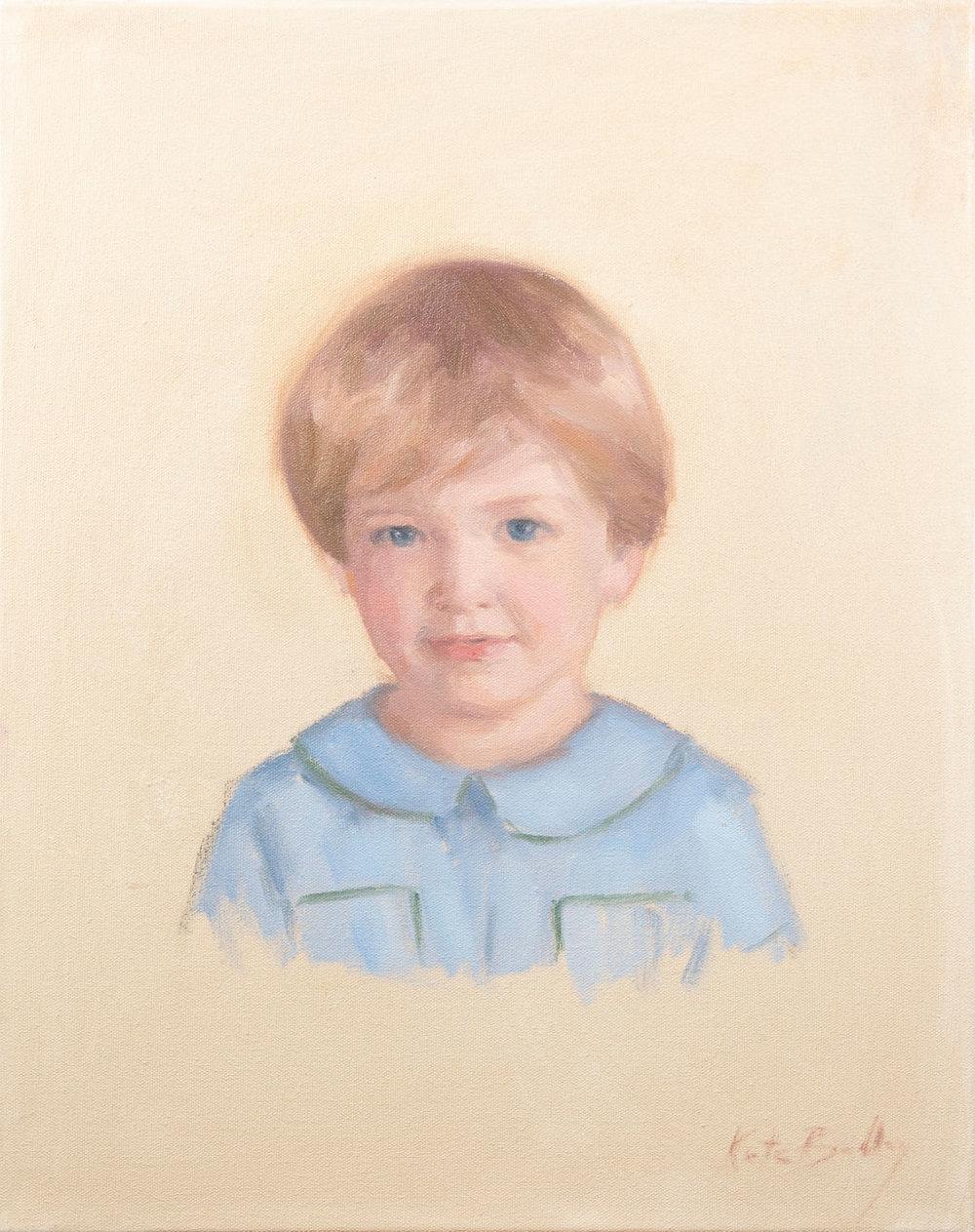 "Ezra Ozier , Age 3, 16"" x 20"" Oil on canvas"