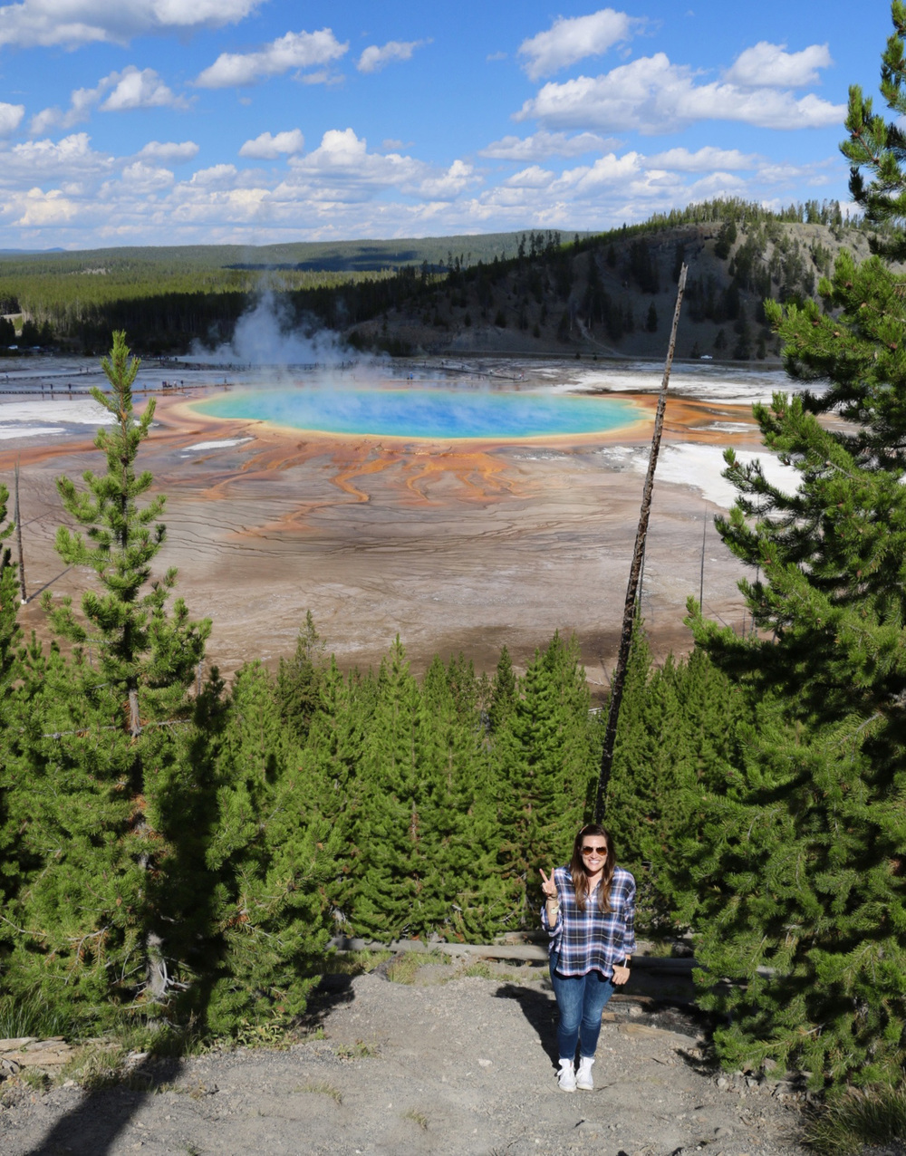 Grand Prismatic Spring. THE COLORS!!! And look at these Simpsons clouds!