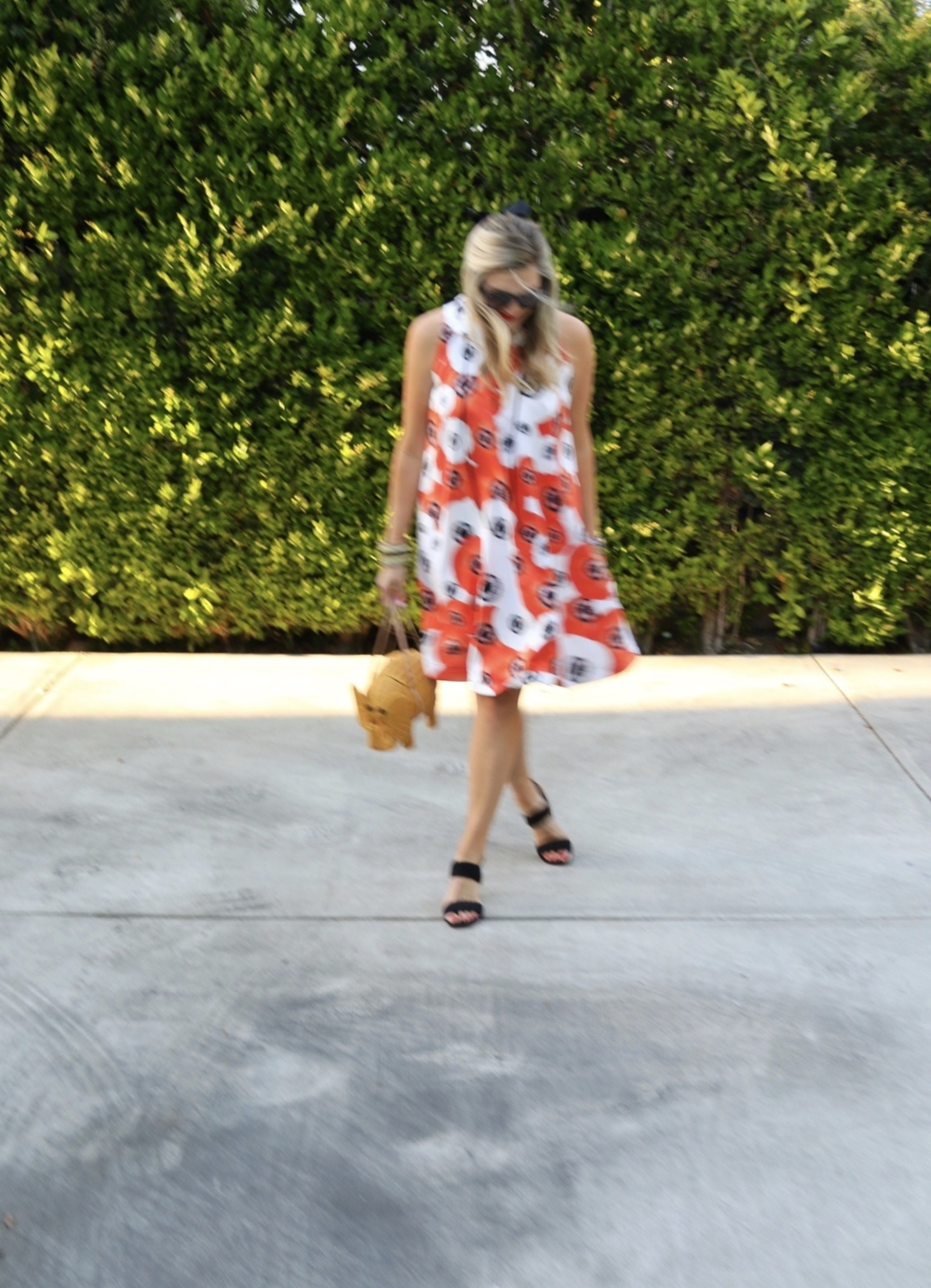 dress:  katie ermilio , shoes:  madewell , bag:  kate spade , sunglasses:  karen walker .