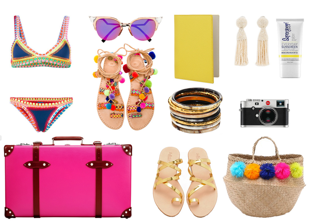 Pack a  Kiini swimsuit  for the pool,  Fendi sunglasses , the most fun  pom-pom sandals , a bright  passport cover ,  beaded fringe earrings ,  Supergoop! sunblock , a  Leica  to capture the memories, a stack of  bangles , a big  straw tote ,  gold strappy sandals , and an empty  suitcase  to fill with all your new finds!