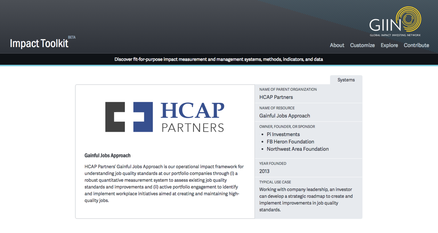 GIIN Impact Toolkit features HCAP Partners' Gainful Jobs