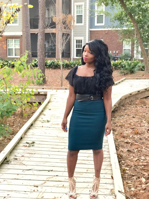 forest green pencil skirt paired with lace off the shoulder top outfit under