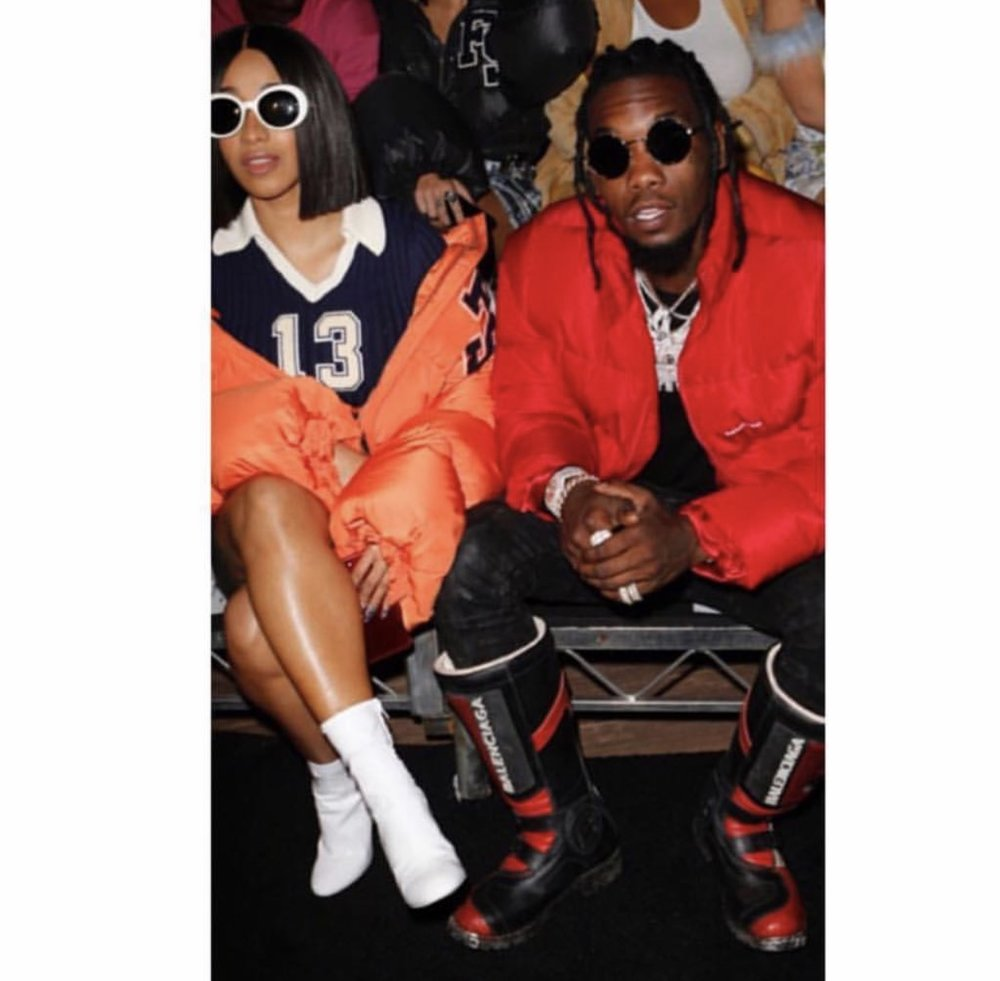 Cardi and Offset matching each other's fly at NYFW #Baywatch