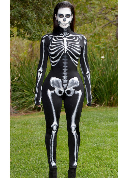 Kim Kardashian-West -  Kim K as a Skeleton Pic Source: Dailymail