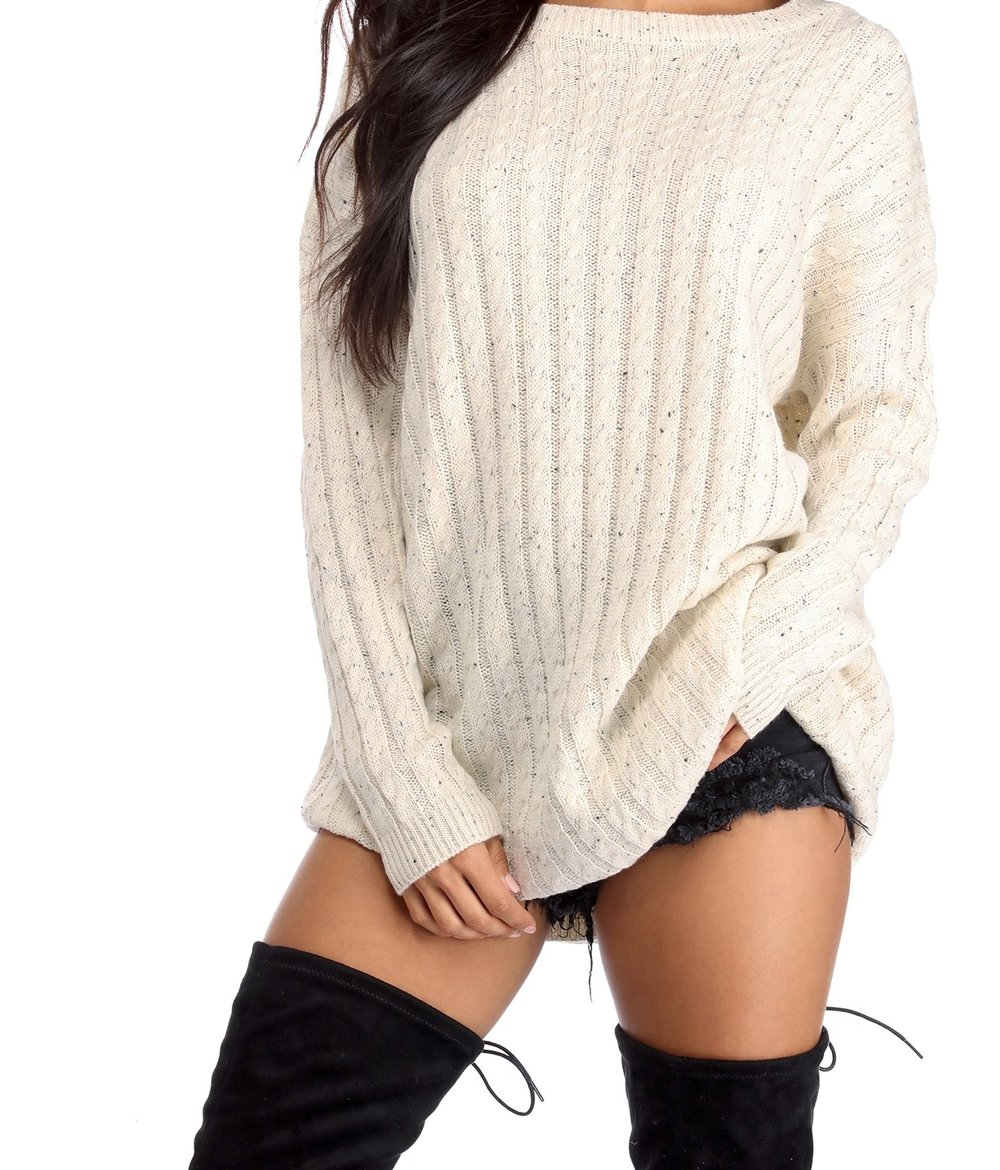 Sweat Her - Sweaters are perfect for fall, there are many ways you style a sweater, especially if it's long enough. Some people prefer leggings or jeans. You can dress it up any way you like. Perfect for a night out as well. Add some stocking some thigh highs and makes for a  cute little date night look.