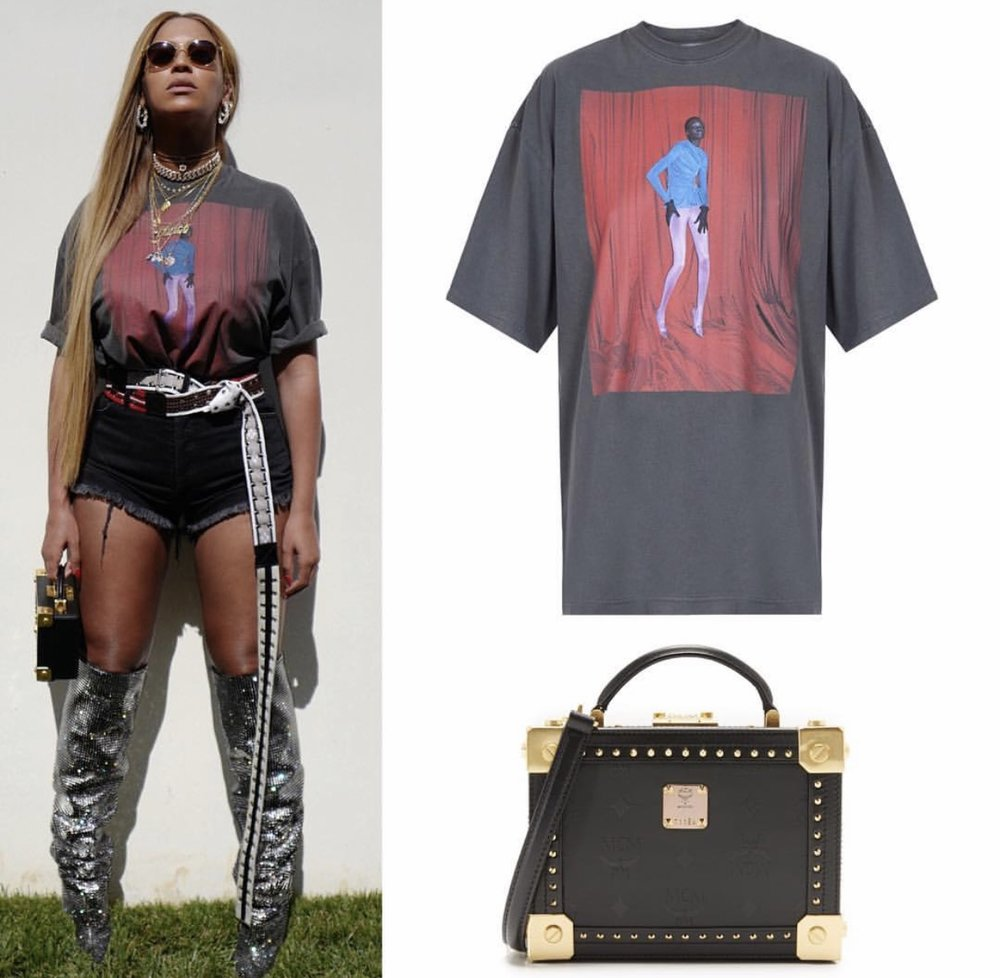 @balenciaga  Alek T-shirt ($495),  @yproject_official  AW17 belt,  @off____white crystal 5 pocket denim shorts ($975),  @mcmworldwide  berlin trunk cross body bag ($1,495) and  @ysl  swarovski crystal boots ($10,000) ;Photo credit and details from: Instagram/beyonce.fashion