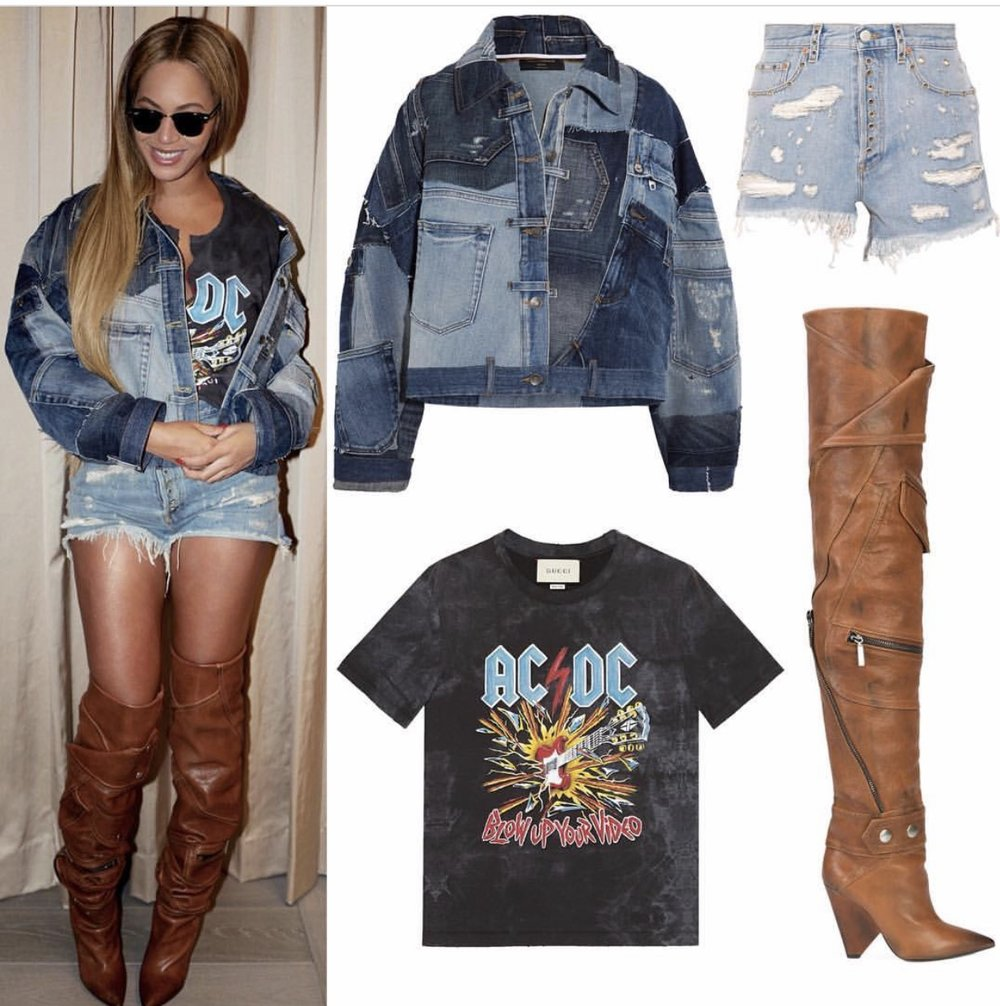 🔹 @dolcegabanna  Distressed Patchwork Denim Jacket ($3,375) 🔹 @gucci  AC/DC T-Shirt ($720) 🔹 @gucci  Embellished Distressed Denim Shorts ($850) 🔹 @ysl Niki 105 Jacket Boots ($3,495);Photo credit and details from: Instagram/beyonce.fashion