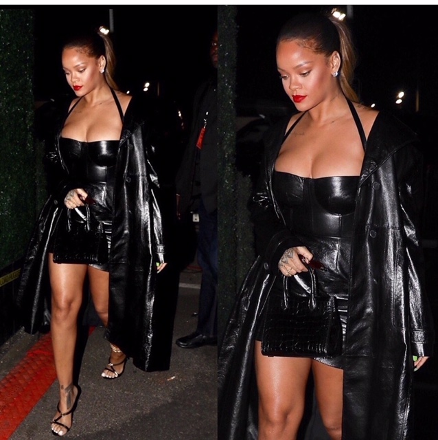Badgalriri a.k.a Rihanna looked amazing in her Dior ensemble, as she attended Jay-Z Holiday  Party in California. Love this and top this beautiful look off with a nice red lip assuming it's her Stunna Red from her Fenty Beauty line.     RIRI is Holiday style goals:)
