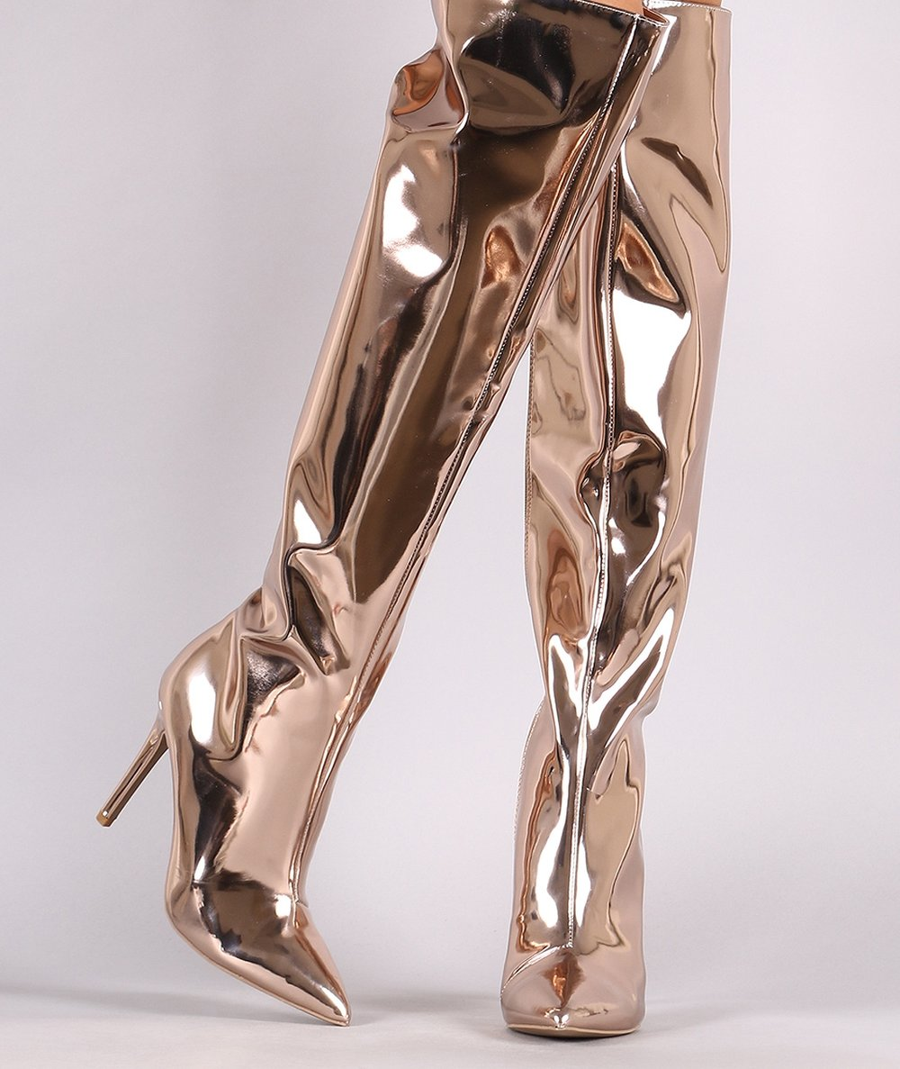 Metallic - Metallic Gold knee highs available now  in shop style. Blogger's  Choice