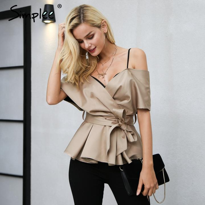 Classy Fashion Satin  V-Neck Blouse. Classy and Chic are perfect for completing your classy stylish look.  Shop www.adateinthcity.com and shop more today.