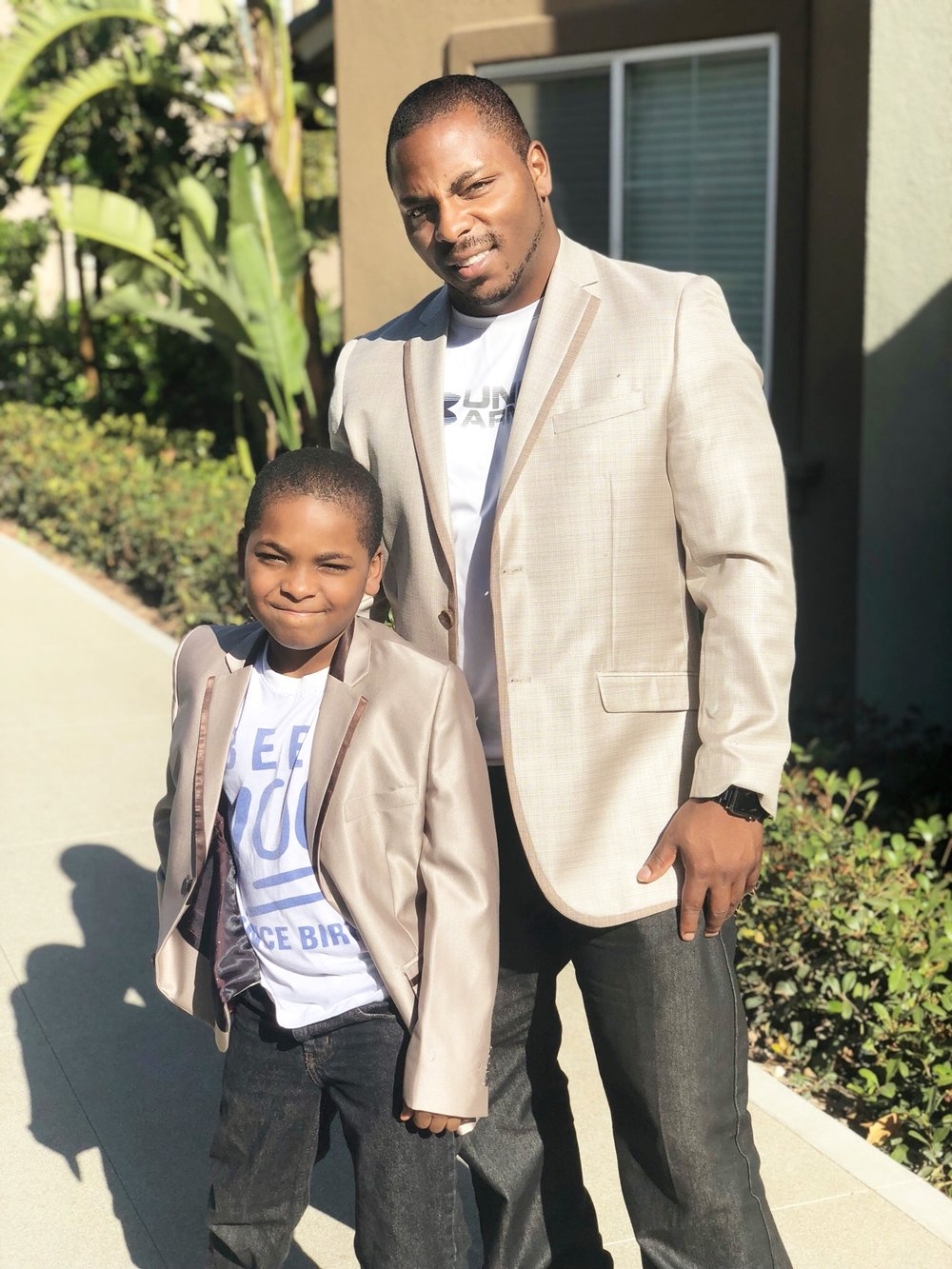 Dad and Elijah - Went Suit shopping this past weekend. We tried to compromise here in these photos because California heat was a bit disrespectful on this day. LOL!