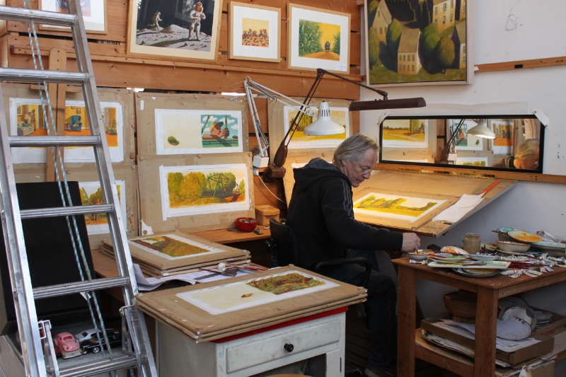 The artist in his studio, working on the illustrations for The Bell in the Bridge by Ted Kooser, to be published in spring of 2016